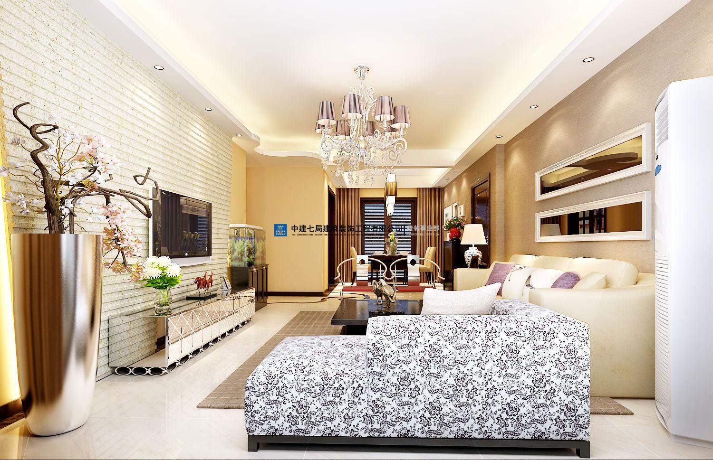 建业森林半岛三室两厅120平方混搭装修效果图图片